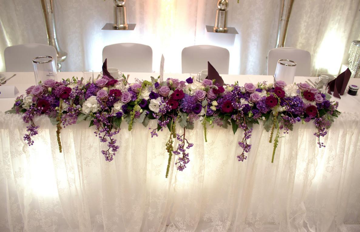 Lila t ne brauttisch gesteck vanda deko und floristik for Brauttisch deko
